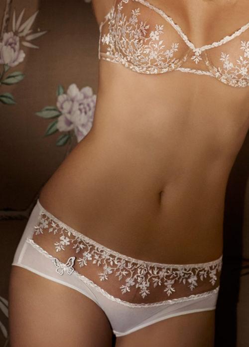 nos promotions Lingerie de Luxe Shorty broderie effet tattoo blanc joy