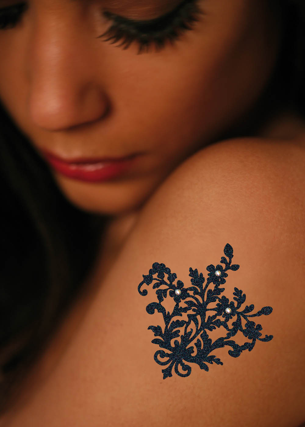 Bijou Tattoo Paillettes Lady Jane porté