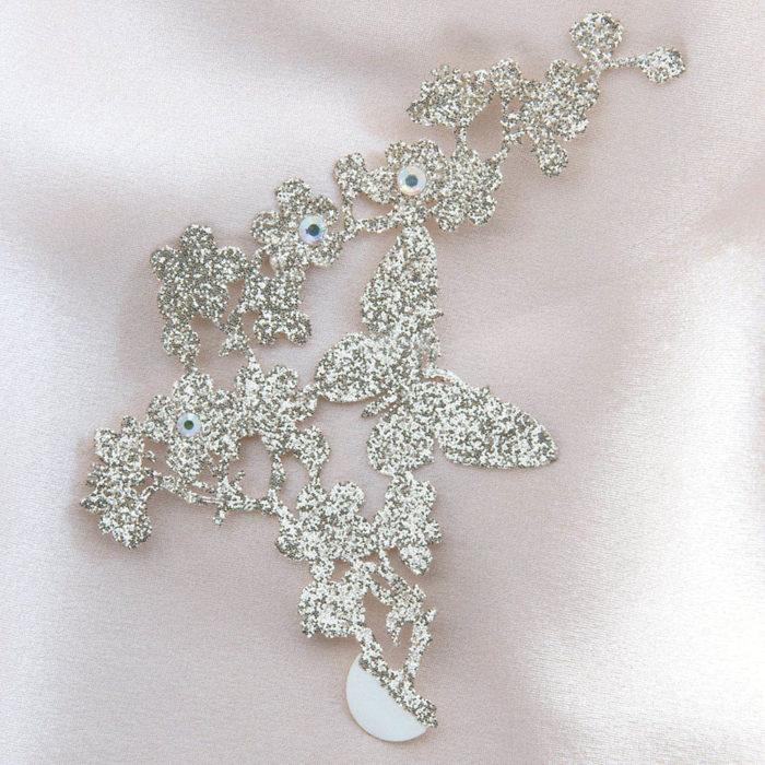 bijoux de peau madame butterfly or fond satin