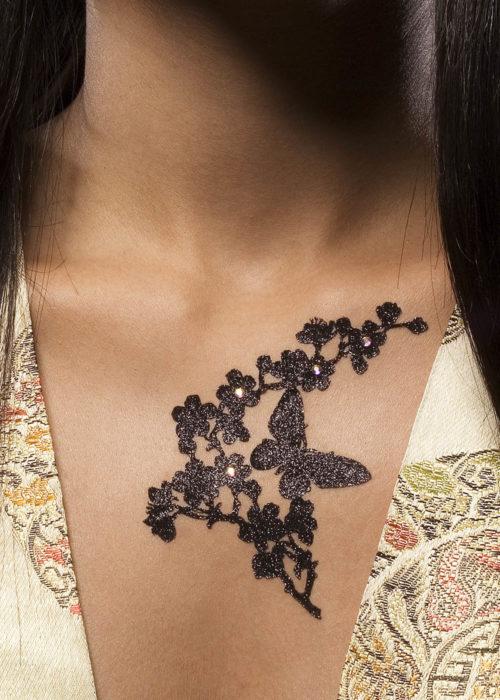 bijou de peau papillon madame butterfly noir porté