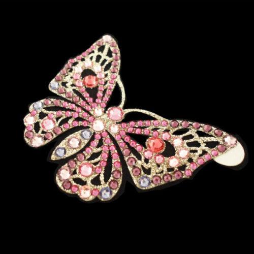 papillon strass rose