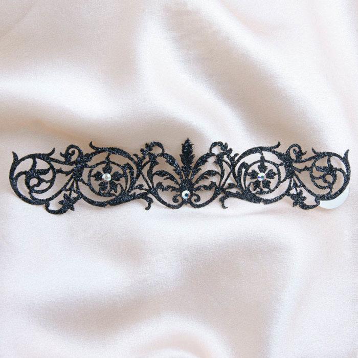 bijoux de peau bracelets sheherazade noir fond satin