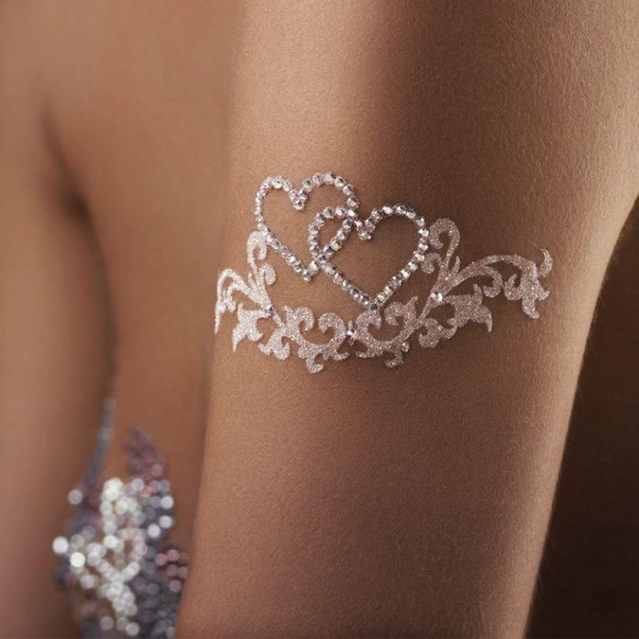 bijoux de mariage coeurs strass blanc